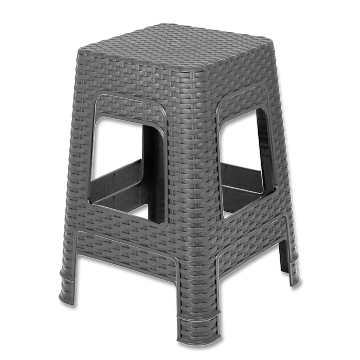 neu hocker rattan sitzhocker stuhl kunststoff stapelbar fu hocker badhocker 45cm ebay. Black Bedroom Furniture Sets. Home Design Ideas